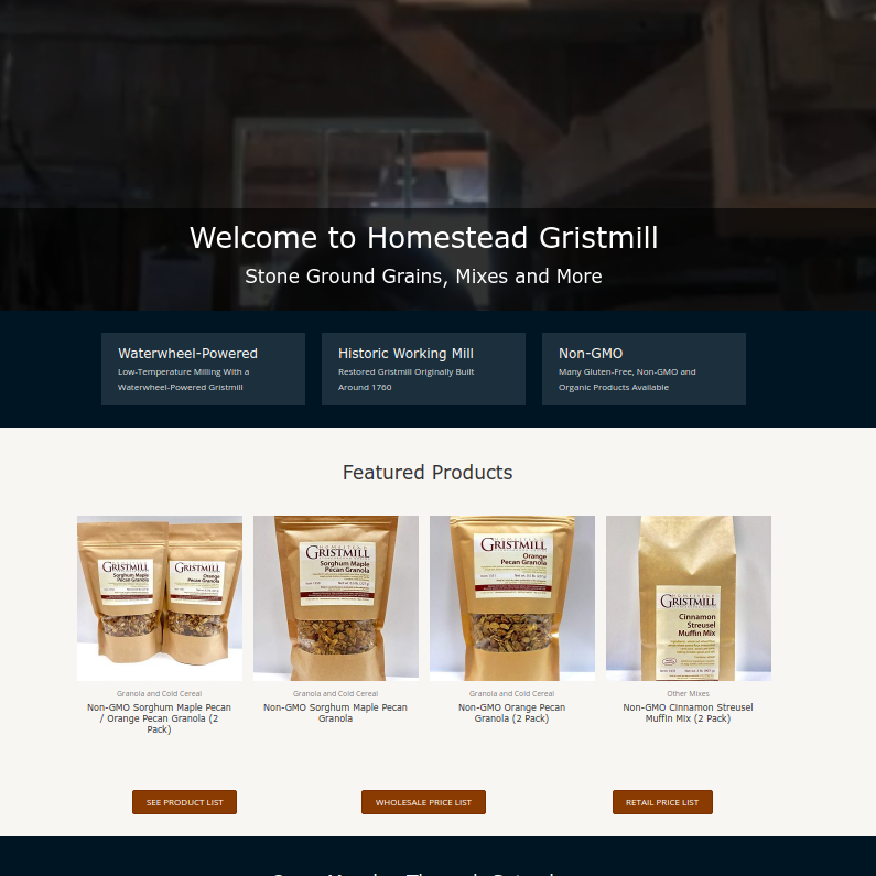 Homestead Gristmill Website